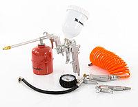 Набор пневмоинструмента, 5 предметов, быстросъемное соединение, краскораспылитель с верхним бачком Matrix, фото 1