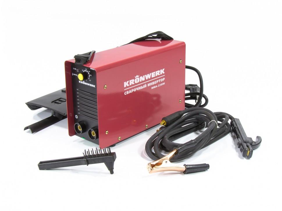 Аппарат инверторный дуговой сварки ММА-220IW, 220 А, ПВР 60%, диаметр электрода 1,6-5 мм, провод 2 м Kronwerk