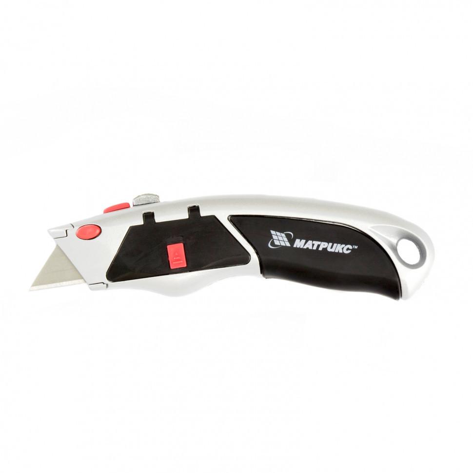 Нож, 19 мм, выдвижное трапециевидное лезвие, металлический корпус, 8 лезвий Matrix