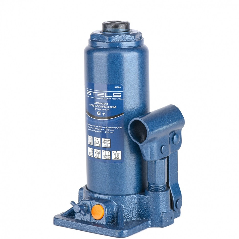 Домкрат гидравлический бутылочный, 6 т, H подъема 216-413 мм Stels