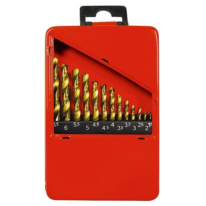 Набор нитридтитан. сверл по металлу, 1,5-6,5 мм (через 0,5 мм+3,2мм; 4,8 мм), НSS, 13 шт Matrix