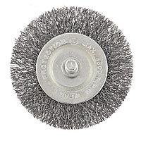 Щетка для дрели, 60 мм, плоская со шпилькой, витая проволока Сибртех