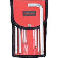 Набор ключей имбусовых HEX, 1,5-12 мм, CrV, 10 шт, удлиненных, шарообразный наконечник, с сатинированным