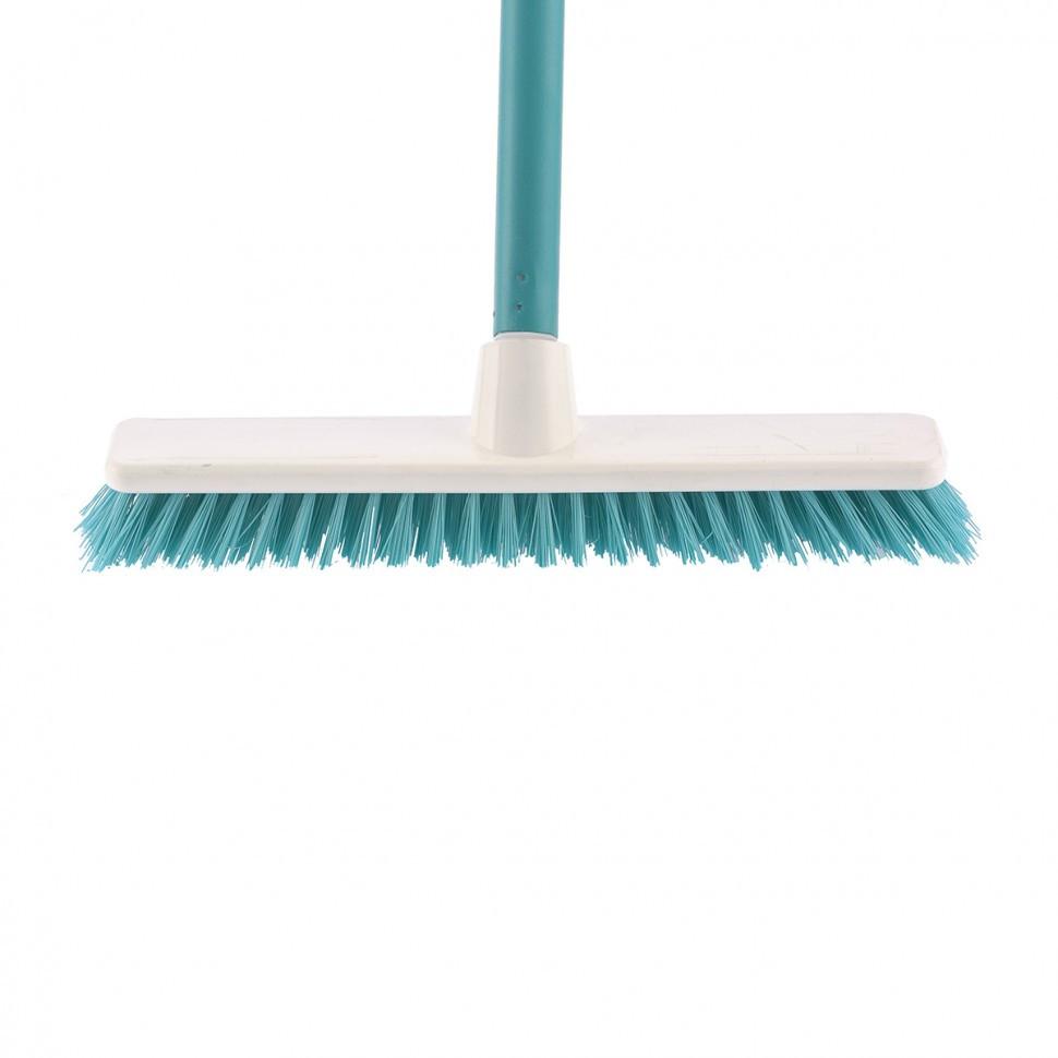 """Щетка пластмассовая """"Shrober"""" для чистки ковров 270 мм, бирюзовая, c черенком, 120 см, D 22 мм Elfe"""