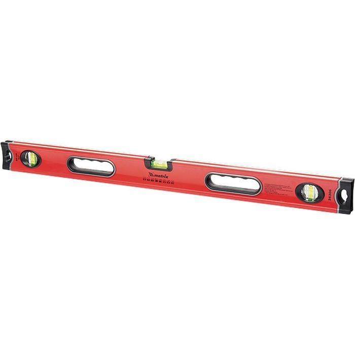 Уровень алюминиевый, 800 мм, 3 глазка, ударопрочные заглушки, двухкомпонентные ручки Matrix ProFI