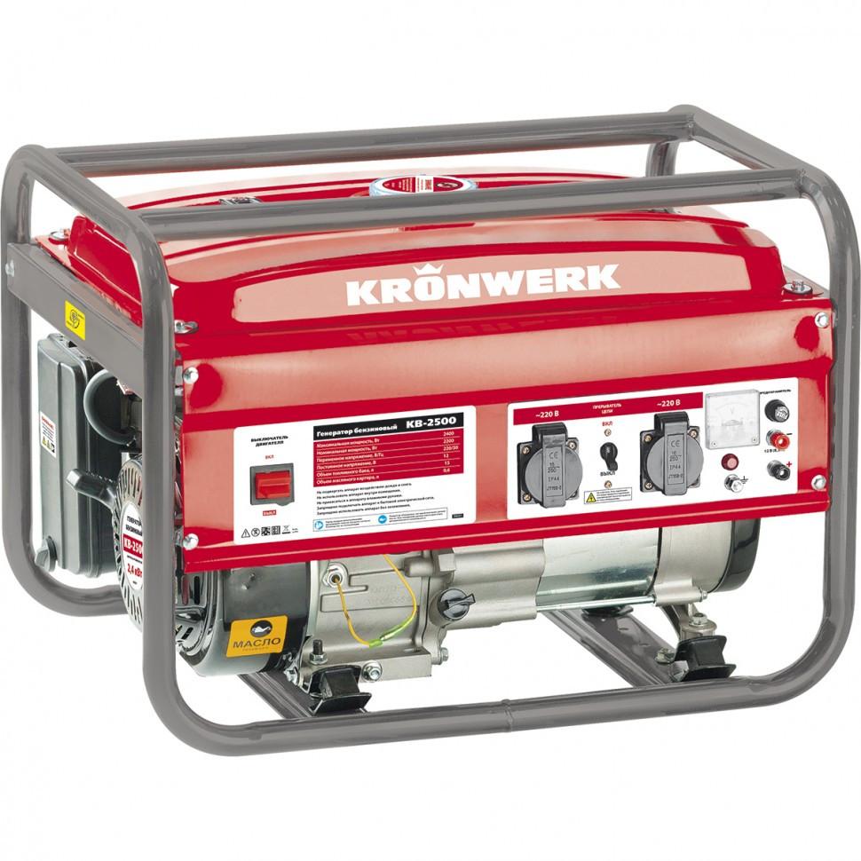Генератор бензиновый KB 3500, 3.5 кВт, 220 В/50 Гц, 15 л, ручной старт Kronwerk