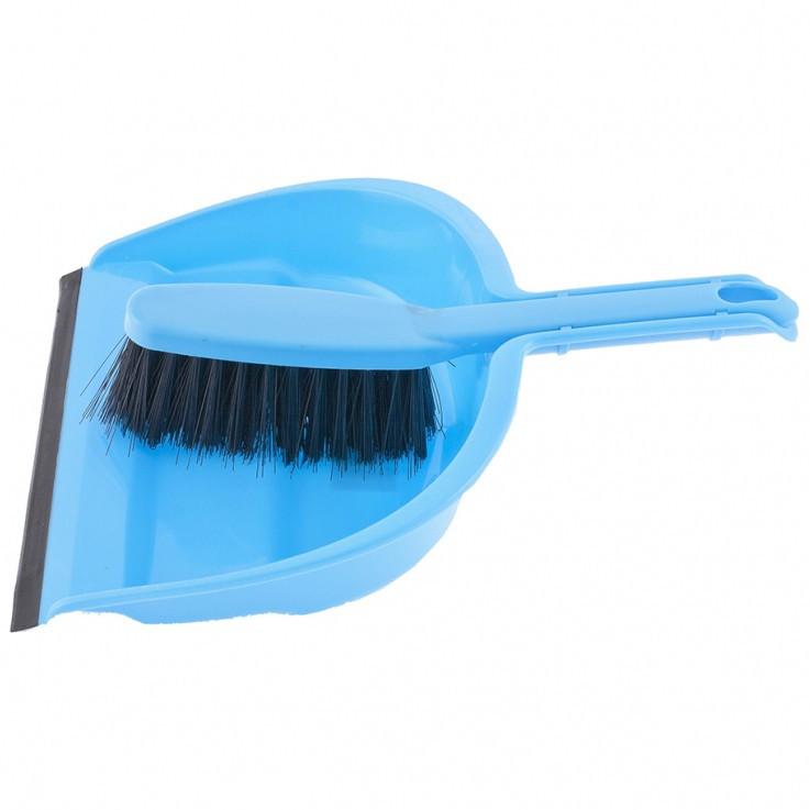 Набор: совок с кромкой 330 х 235 мм. и щетка- сметка 290 мм, голубой Elfe
