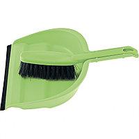 Набор: совок с кромкой 330 х 235 мм, щетка- сметка 290 мм, зеленый Elfe