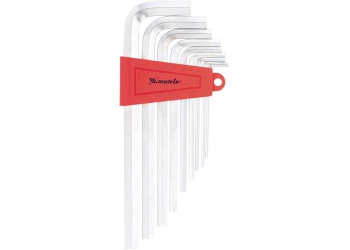 Набор ключей имбусовых HEX, 1,5-10 мм, CrV, 9 шт, удлиненные, сатин Matrix