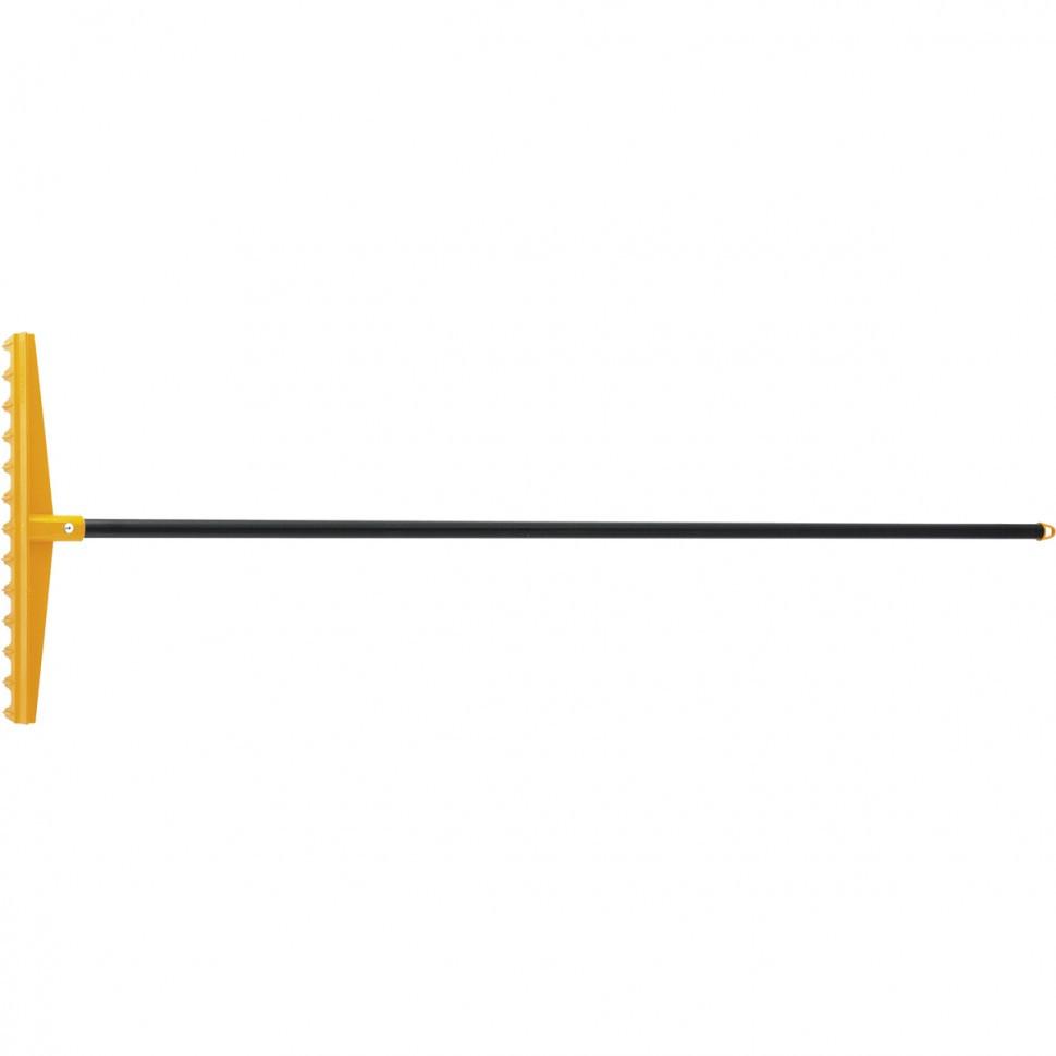 Грабли пластиковые, 430 мм, 13 прямых зубьев, усиленные, металлический черенок, LUXE Palisad