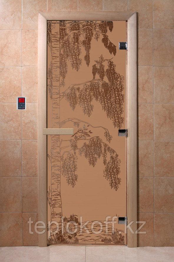 """Дверь стеклянная банная """"Березка"""" (бронза матовое), 1900х800, 3 петли,  стекло 8 мм, коробка Ольха"""