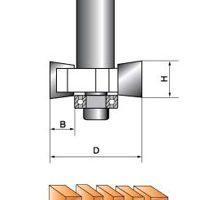 Фреза прямая кромочная фальцевая с подшипником Глобус D=33,H=5,L=50 хвост.8мм арт.1023 H5