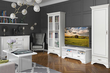 Шкаф пенал 1Д , коллекции Кентаки, Белый Белый, БРВ Брест (Беларусь), фото 2