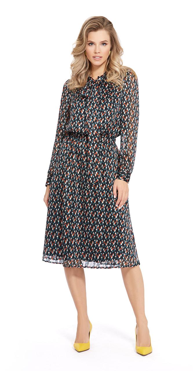 Платье PiRS-940/1, черный+мультиколор, 42