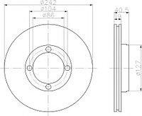 Тормозные диски Hyundai Accent (94-00, передние, Veka, D242-v40, 5)