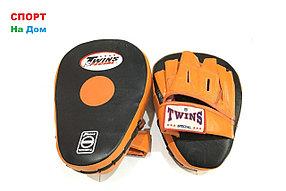 Лапы для бокса, каратэ, таэквондо Twins кожа (оранжевый)