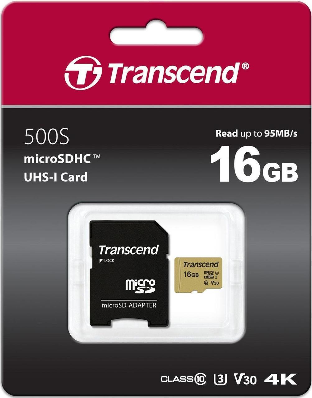 Transcend TS16GUSD500S Карта памяти MicroSD 16GB Class 10 U3 с адаптером
