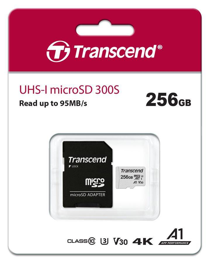 Transcend TS256GUSD300S-A Карта памяти MicroSD 256GB Class 10 U1 a1 с адаптером
