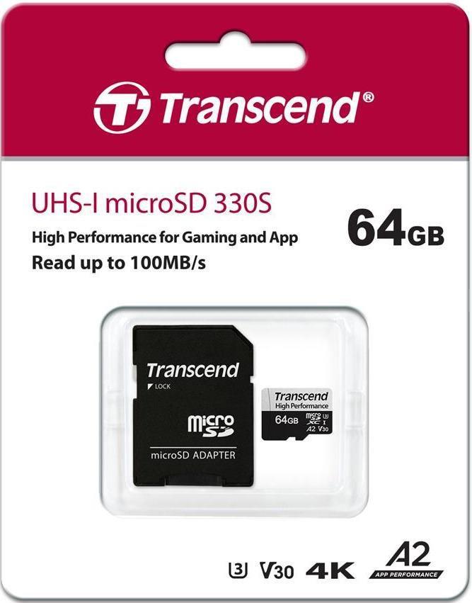 Transcend TS64GUSD330S Карта памяти microSDXC 64GB Class 10 U3 A2 с адаптером