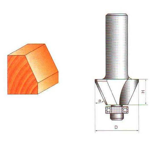 Фреза конусная кромочная с ниж.подшипником Глобус D=31,l=23,d=8mm,О=22.5° арт.1024 D31 22.5о