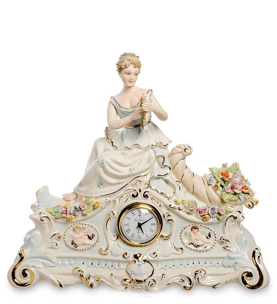Настольные часы Дама с лирой. Фарфор, ручная работа, Италия