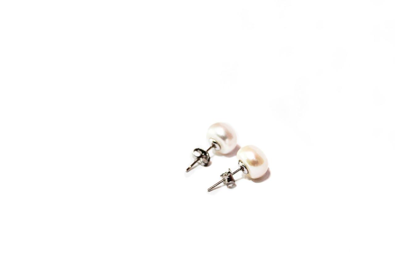 Серебряные Серьги-пусеты Brosh Jewellery. Серебро 925 пробы, вставка Жемчуг