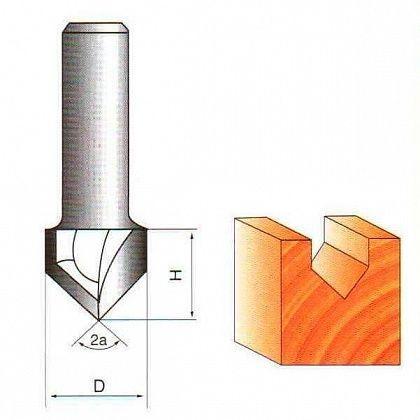 Фреза пазовая V-образная Глобус D=12,l=12,d=6mm,90° арт.1004 12 d6