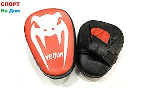 Лапы боксёрские для отработки ударов Venum кожа (черно-красный)