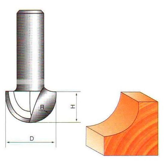 Фреза галтельная пазовая ГЛОБУС D=10,L=7.5mm,d=6mm арт.1005 D10 d6