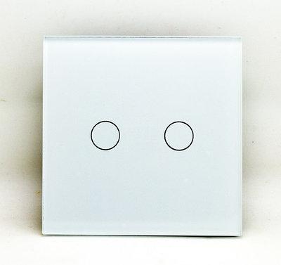 Бюджетный Выключатель сенсорный двухклавишный белый стекло