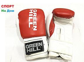 Боксерские перчатки GREEN HILL кожа (цвет бело-красный) 12,14,16OZ