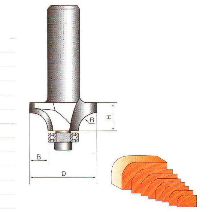Фреза кромочная калевочная с подшипником Глобус D=18,l=8,d=6mm,R=4 арт.1017 R4 d6