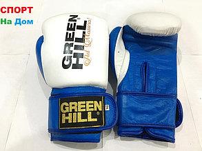 Боксерские перчатки GREEN HILL кожа (цвет бело-синий) 12,14,16OZ, фото 2