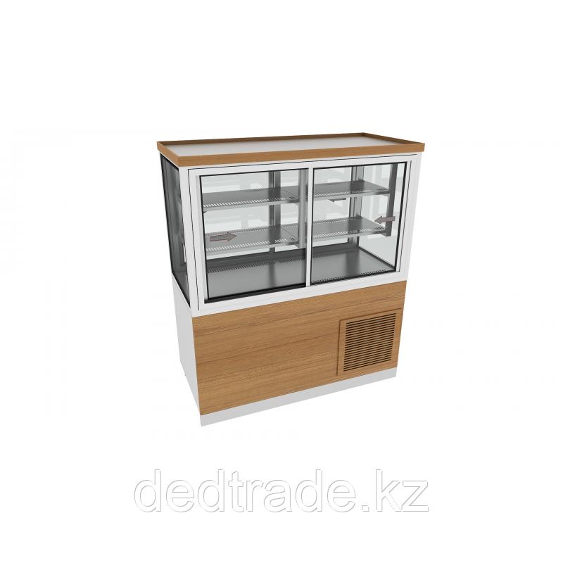 Шкаф для сладости с охлаждением  с декоративным оформлением из нержавеющей стали