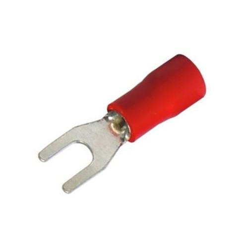 Forked Spade 1,5mm2 M4 Rеd Pk.100 / Наконечник вилочный изолированный НВИ 1,5-4 КВТ, красный, 100 шт.