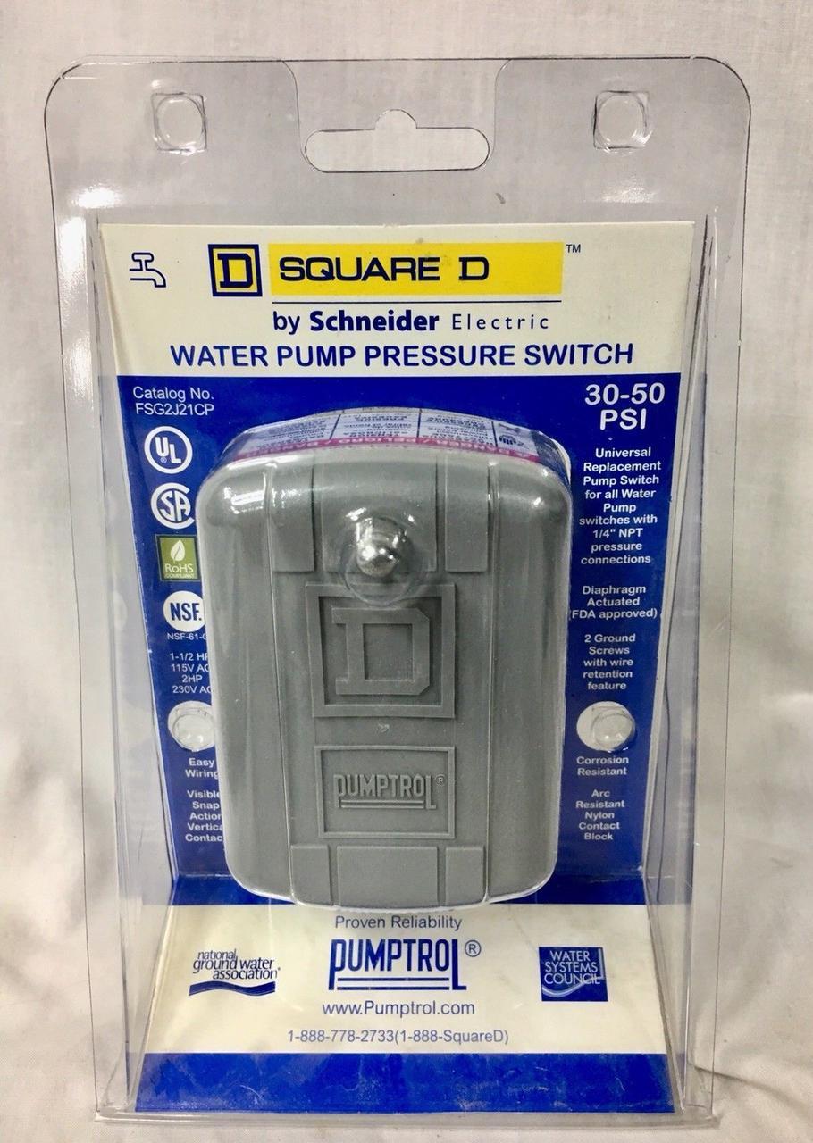 Датчик давления водяного насоса Square D Pumptrol™  On/Off - 20PSI(138kPa)/40PSI(276kPa)