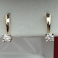 Золотые серьги с бриллиантами 0.36Ct SI1/G, фото 1