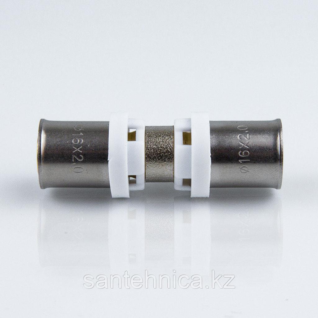 Пресс муфта для металлопластиковой трубы Дн 20 латунь никель Aquasfera