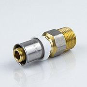 """Пресс муфта для металлопластиковой трубы Дн 32х1"""" наруж. резьба латунь никель Aquasfera"""