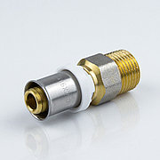 """Пресс муфта для металлопластиковой трубы Дн 32х1 1/4"""" наруж. резьба латунь никель Aquasfera"""