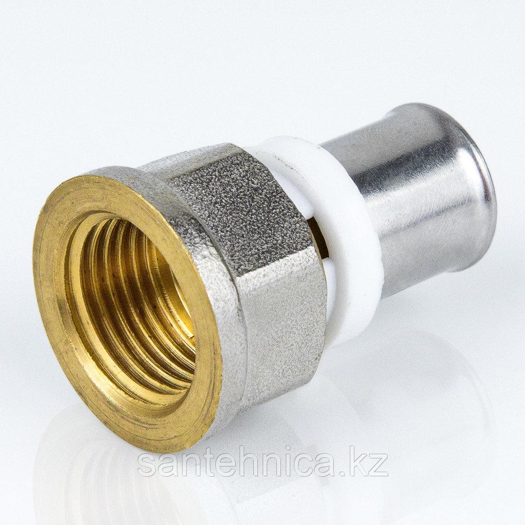 """Пресс муфта для металлопластиковой трубы Дн 32х1"""" внутр. резьба латунь никель Aquasfera"""