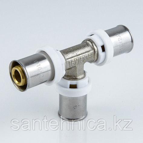 Пресс тройник для металлопластиковой трубы Дн 26 латунь никель Aquasfera, фото 2