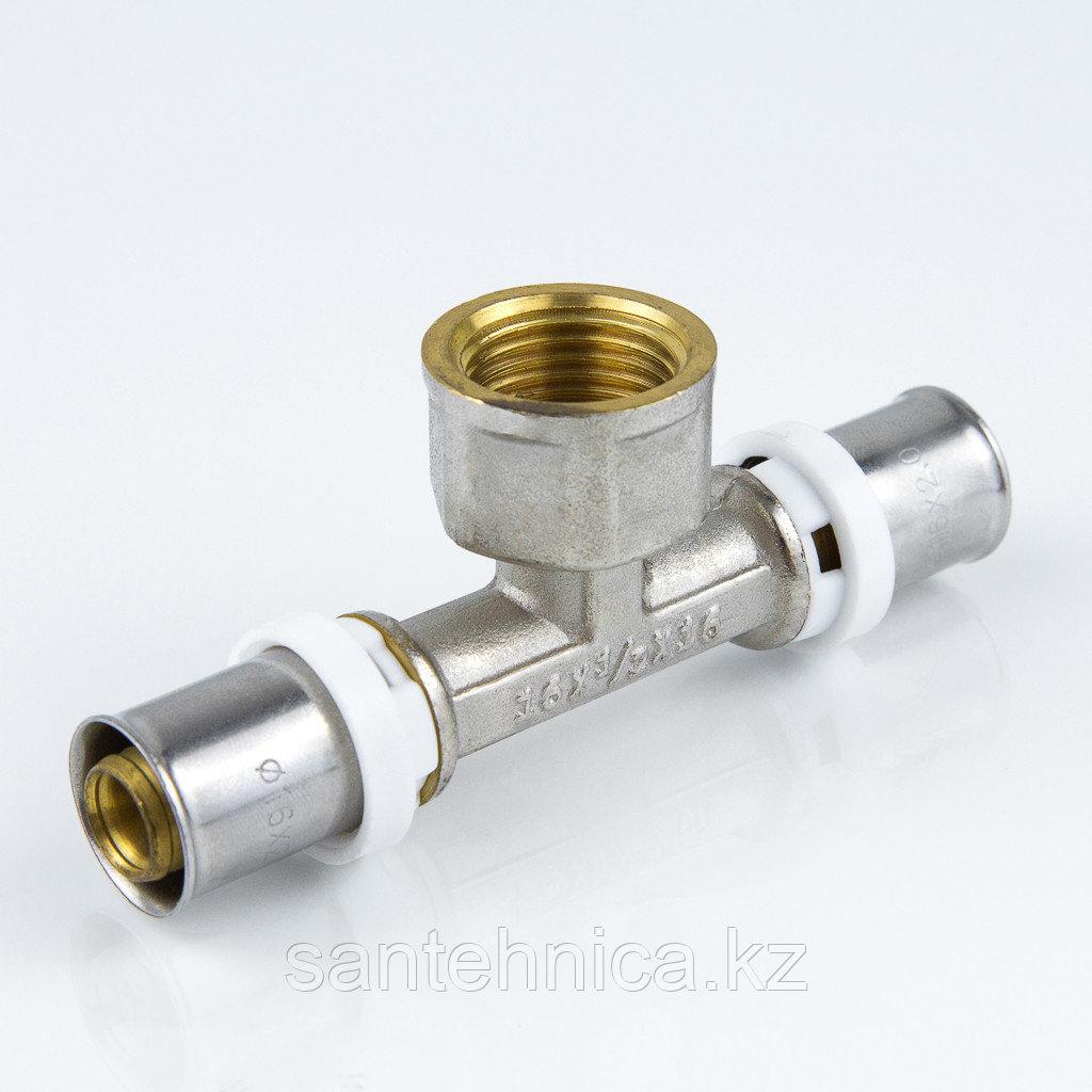 """Пресс тройник для металлопластиковой трубы Дн 26х1/2""""х26 внутр. резьба латунь никель Aquasfera"""