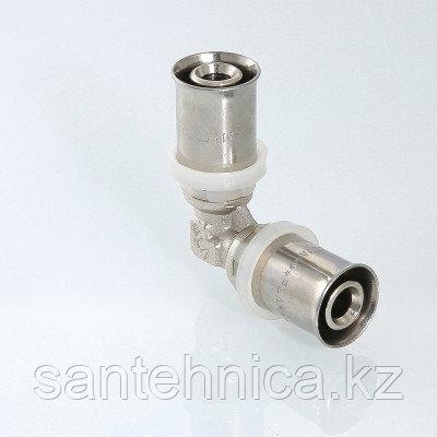 Пресс угольник для металлопластиковой трубы Дн 16 латунь никель Valtec VTm.251.N.001616