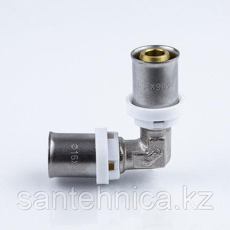Пресс угольник для металлопластиковой трубы Дн 26 латунь никель Aquasfera, фото 2