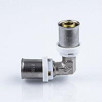Пресс угольник для металлопластиковой трубы Дн 32 латунь никель Aquasfera