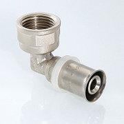 """Пресс угольник для металлопластиковой трубы Дн 16х1/2"""" внутр. резьба латунь никель Aquasfera"""