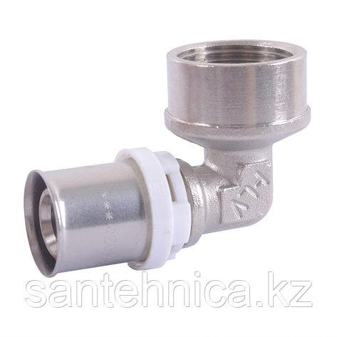 """Пресс угольник с креплением для металлопластиковой трубы Дн 16х1/2"""" внутр. резьба латунь никель HLV, фото 2"""