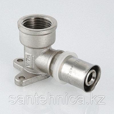"""Пресс угольник с креплением для металлопластиковой трубы Дн 20х1/2"""" внутр. резьба латунь никель Valtec, фото 2"""