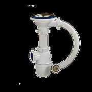 """Сифон для кух. мойки бутылочный с гибким переливом 3 1/2""""х40 выпуск нерж. решетка D=114 мм Орио A-5007"""